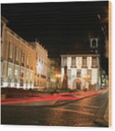 Ponta Delgada At Night Wood Print