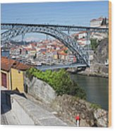Ponte Luiz I Between Porto And Gaia In Portugal Wood Print