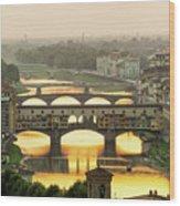 Ponte Vecchio Enlighten By The Warm Sunlight, Florence. Wood Print
