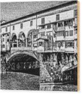 Ponte Vecchio Florence Sketch Wood Print