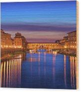 Ponte Vecchio Nigth Panorama Wood Print