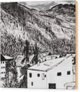Pontresina Black And White Wood Print