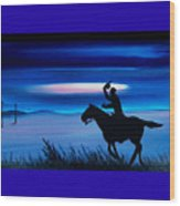 Pony Express Rider Blue Wood Print