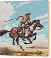Pony Express Rider Historical Americana Painting Desert Scene Wood Print
