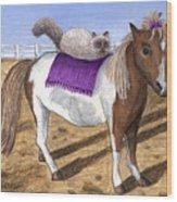 Pony Lil And Cat Annie Wood Print
