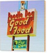 Poodle Dog Diner Wood Print