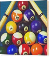 Pool Balls And Cue Sticks Wood Print