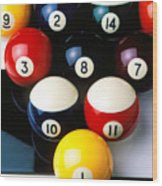 Pool Balls On Tiles Wood Print by Garry Gay