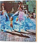 Pool Party Sold Wood Print