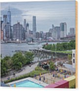Pool With A View, Brooklyn, New York #130706 Wood Print