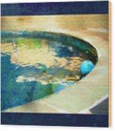 Pool With Blue Ball Wood Print