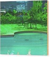 Pool With City Lights Wood Print