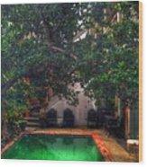 Pool With Tree Wood Print