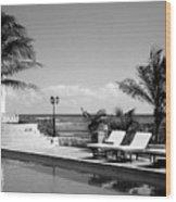 Poolside B-w Wood Print