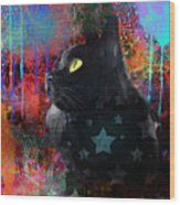 Pop Art Black Cat Painting Print Wood Print by Svetlana Novikova