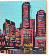 Pop Art Boston Skyline Wood Print