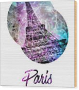 Pop Art Eiffel Tower Graphic Style Wood Print