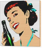 Pop Art Girl With Soda Bottle Wood Print