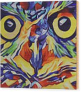 Pop Art Owl Face-1 Wood Print
