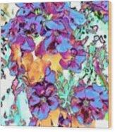 Pop Art Pansies Wood Print
