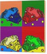 Pop Art Pug Wood Print