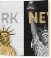 Pop Art Statue Of Liberty - New York New York - Panoramic Golden Silver Wood Print