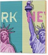 Pop Art Statue Of Liberty - New York New York - Panoramic Wood Print
