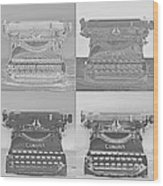Pop Art Typewriter Collage Black And White Wood Print