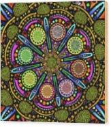 Pop Mandala Golden Wood Print