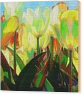 Popart Tulips Wood Print