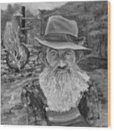 Popcorn Sutton - Black And White - Rocket Fuel Wood Print