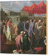 Pope Clement Xi In A Procession In St. Peter's Square In Rome Wood Print