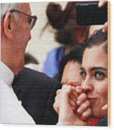 Pope Francis And Woman Painting  Wood Print