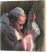 Pope John Paul II Wood Print