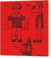 Popeye Doll Patent 1932 In Red Wood Print