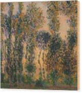 Poplars At Giverny - Sunrise Wood Print