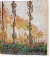 Poplars, Autumn Wood Print