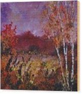 Poplars In Autumn  Wood Print