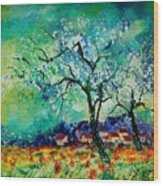 Poppies And Appletrees In Blossom Wood Print