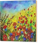 Poppies And Blue Bells Wood Print