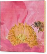 Poppies And Bumble Bee Wood Print