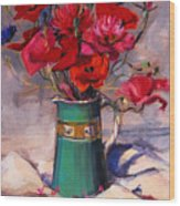 Poppies And Cornflowers In Green Jug Wood Print