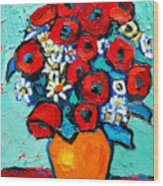 Poppies And Daisies Bouquet Wood Print