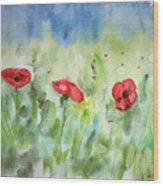 Poppies And Dandelions Wood Print