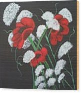 Poppies And Lace Wood Print