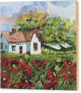 Poppies And Laundry Wood Print
