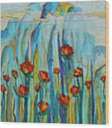 Poppies And Mountains Wood Print