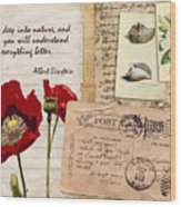 Poppies And Postcards Wood Print