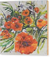 Poppies And Wildflowers Wood Print