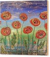 Poppies At Night Wood Print